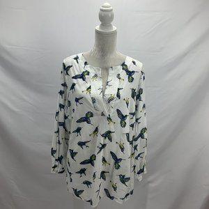 White Hummingbird Print Cotton Popover Blouse